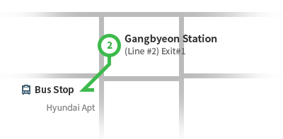 Gangbyeon Station (Line #2) Rough Map